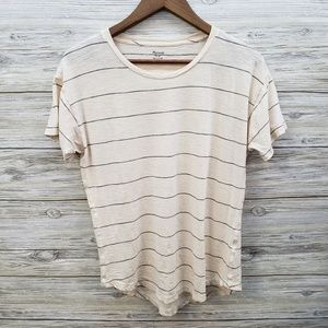 Madewell Cream with Black Striped Short Sleeve Top